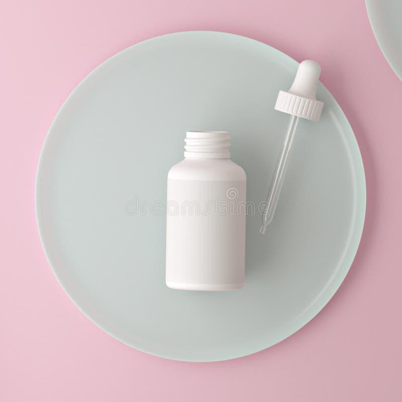 干净的玫瑰现代最小的设计 液体的,奶油,胶凝体,化妆水化妆吸管瓶 美容品包裹,空白 向量例证