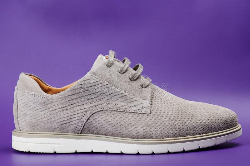 干净的现代灰色人鞋子 库存图片
