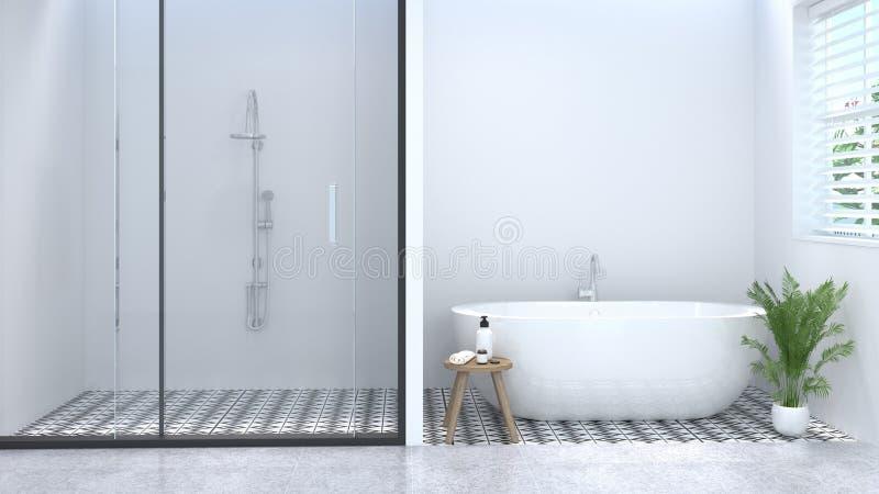 干净的白色空的卫生间内部,洗手间,阵雨,现代家庭设计背景白色瓦片卫生间3d翻译 免版税图库摄影