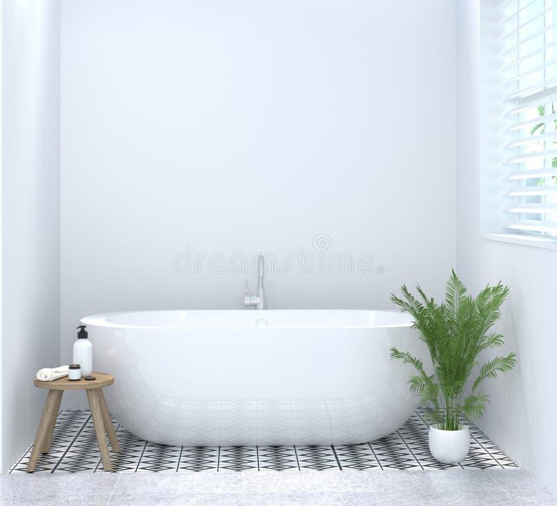 干净的空的卫生间内部,洗手间,阵雨,拷贝空间背景白色瓦片卫生间的现代家庭设计3d翻译 免版税库存照片
