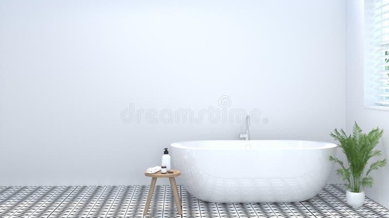 干净的空的卫生间内部,洗手间,阵雨,现代家庭设计背景白色瓦片卫生间3d翻译 库存照片