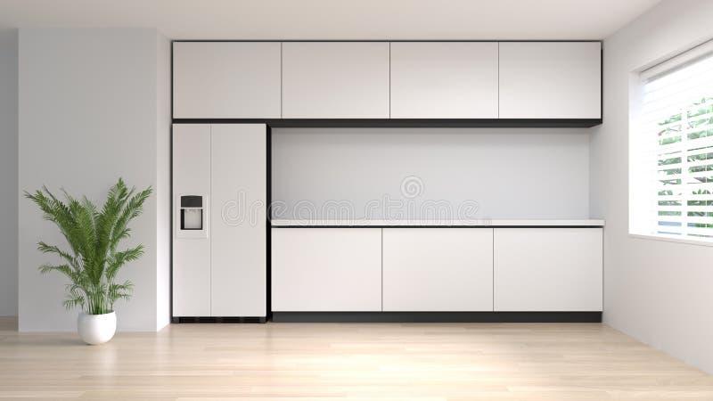 干净的空的回报拷贝空间的室厨房内部烹调现代食物餐馆3d白色现代设计家庭背景 免版税库存图片