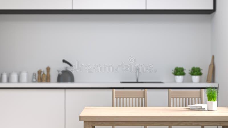 干净的空的回报白色现代设计家的室厨房内部烹调现代食物餐馆3d 免版税库存图片