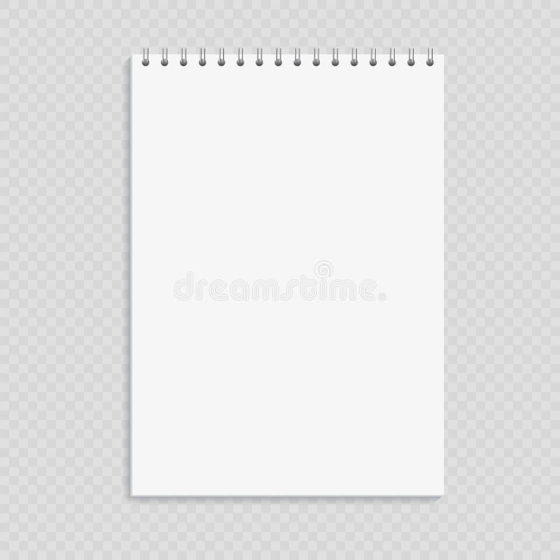 干净的笔记薄大模型模板,打开在透明后面的盖子 库存例证