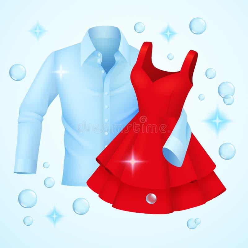 干净的衣裳,洗涤了蓝色衬衣和红色礼服有肥皂泡的 向量例证