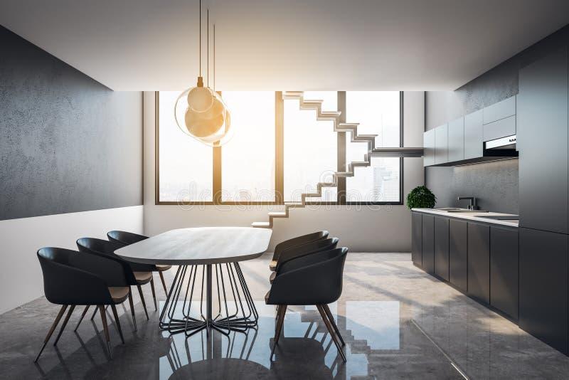 干净的顶楼厨房内部 库存例证