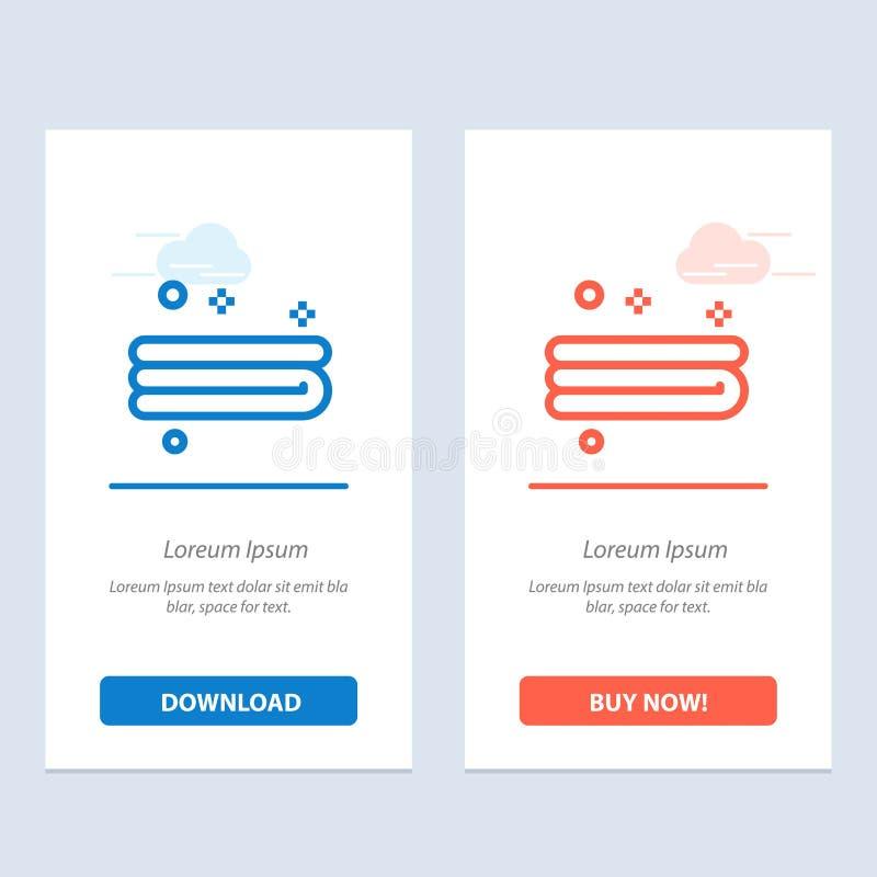 干净,清洁、毛巾蓝色和红色下载和现在买网装饰物卡片模板 向量例证