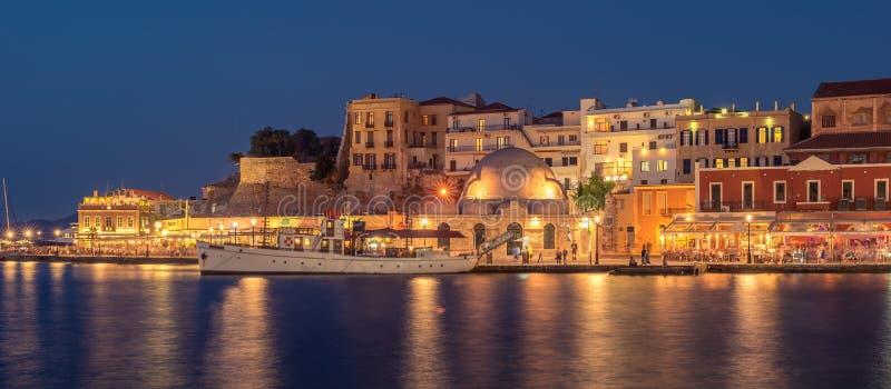 干尼亚州,克利特,希腊:威尼斯式港口 免版税图库摄影