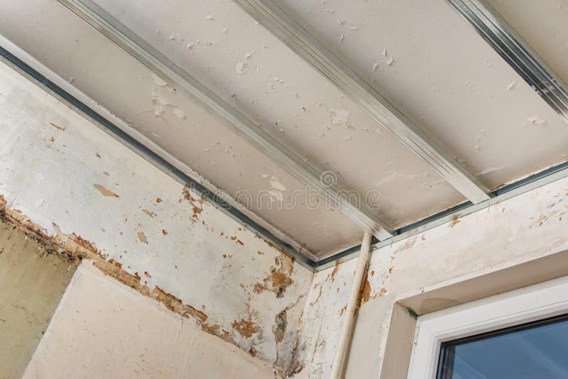 干式墙天花板的结构 免版税库存照片