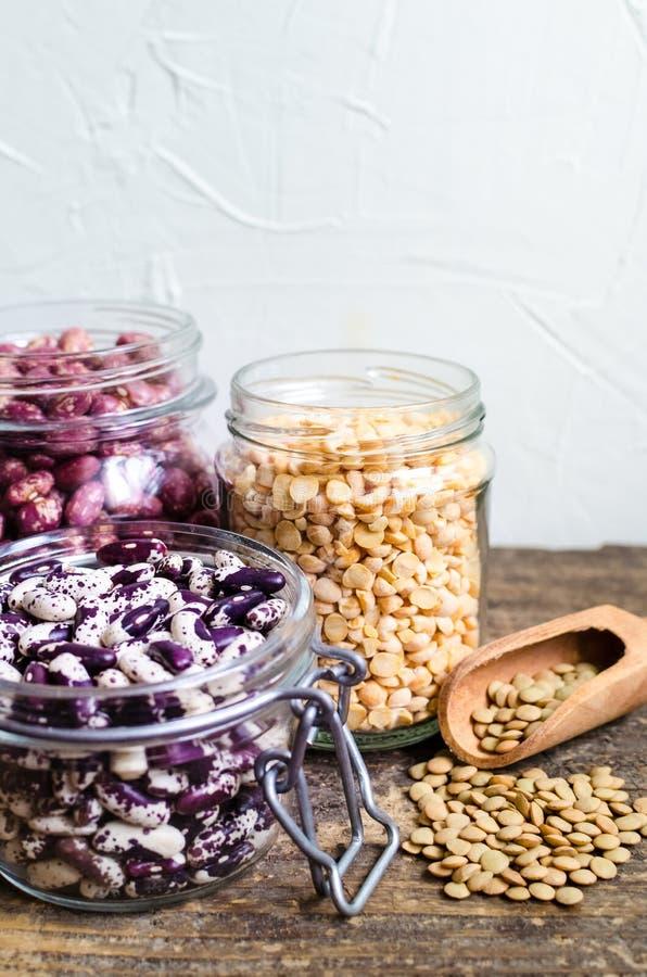 干有机豆和扁豆的分类 免版税库存图片