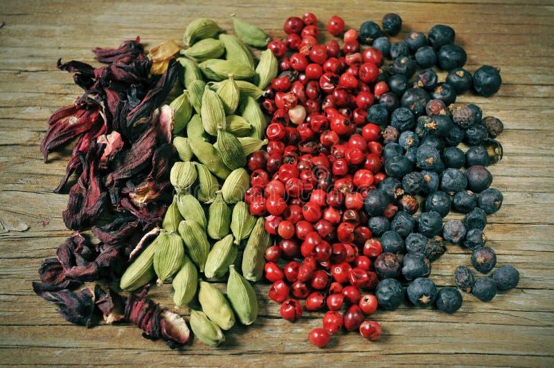 干木槿花、绿色豆蔻果实、桃红色干胡椒和6月 图库摄影