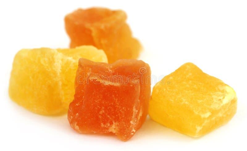 干果子杏子和番木瓜 库存图片