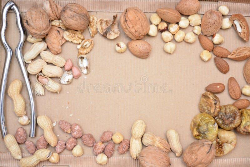 干果杏仁welnuts胡说的干无花果点心自然和有机食品 库存照片