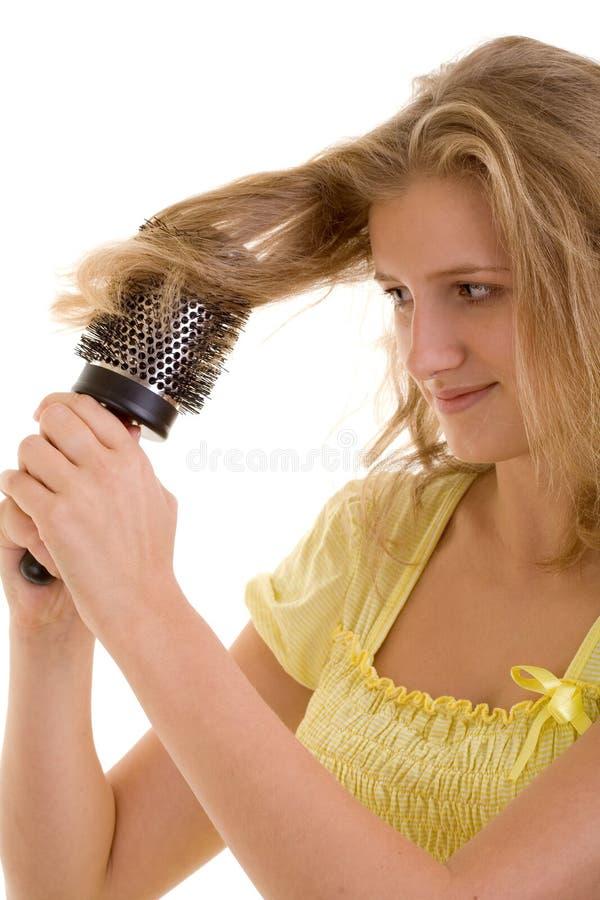 干毛发性感的妇女 库存图片