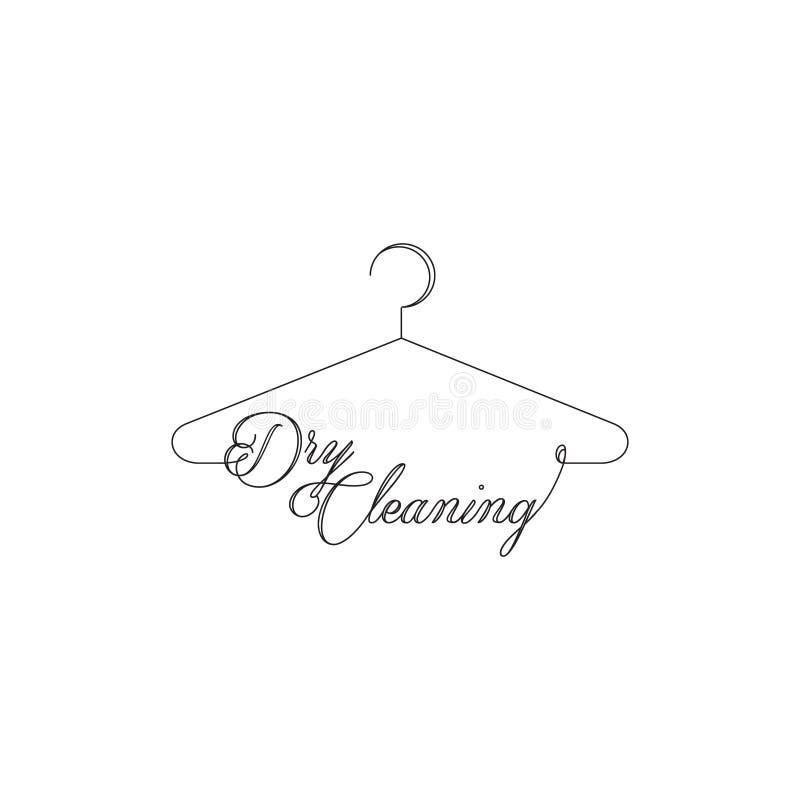 干洗和洗衣服务公司,与被环绕的文本字体的Minimalistic简单的挂衣架概述图片 皇族释放例证