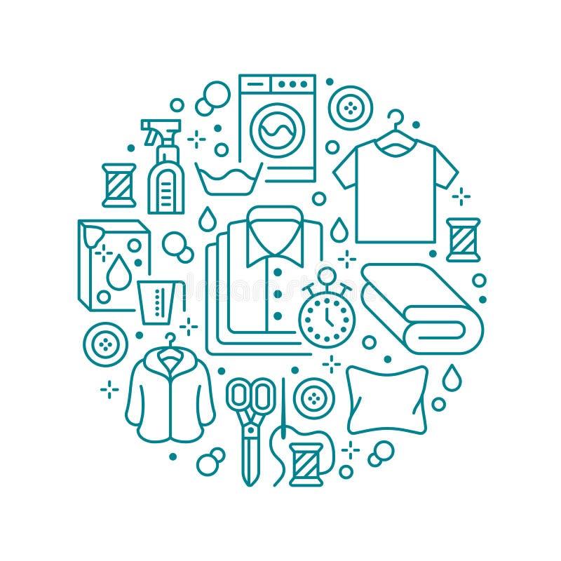 干洗,与平的线象的横幅例证 洗衣服务设备,洗衣机,衣物鞋子 库存例证