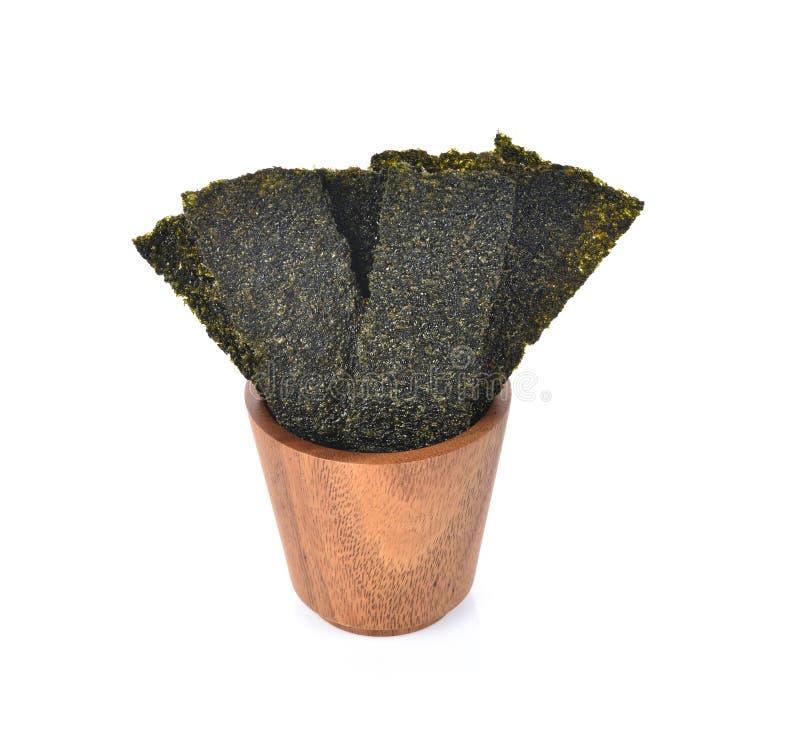 干海草,在白色背景隔绝的酥脆海草板料  免版税图库摄影