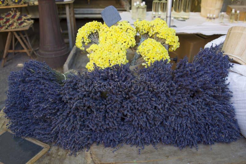 干淡紫色开花待售在一个市场上在普罗旺斯,法国 免版税图库摄影