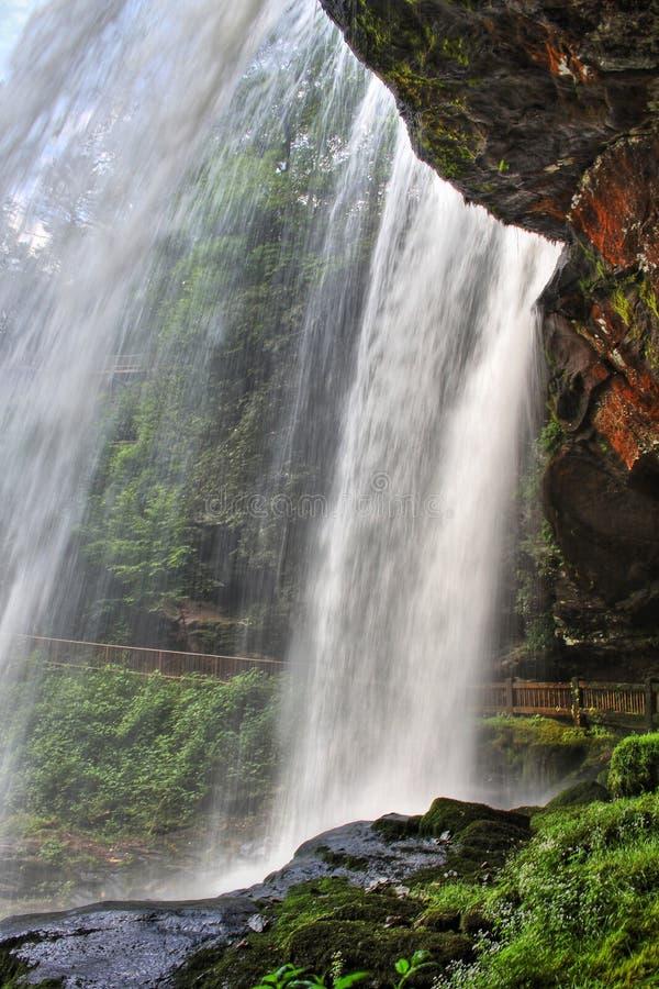 干瀑布在Nantahala国家森林里,北卡罗来纳 免版税库存照片