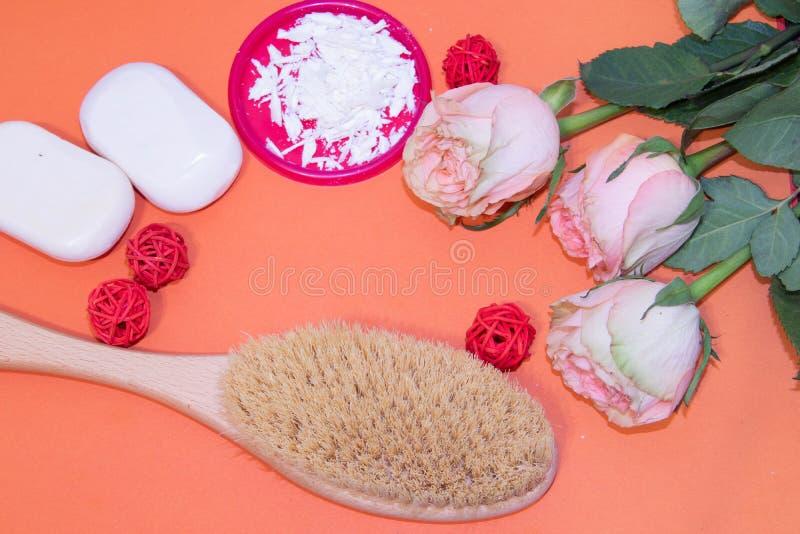 干燥按摩的刷子 新的整容术 摆脱脂肪团和伸展线 适当的护肤 接近的重点图象有选择性的温泉处理 免版税库存图片