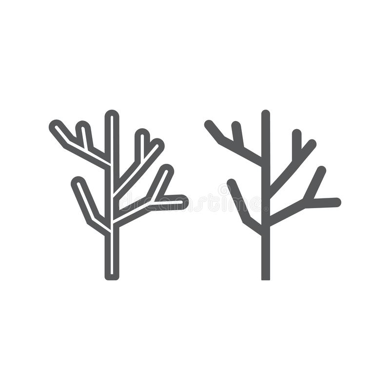干燥木线和纵的沟纹象、树和木材,分支标志,向量图形,在白色背景的一个线性样式 皇族释放例证