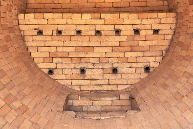 干燥炉标示里面用耐火砖 免版税库存图片