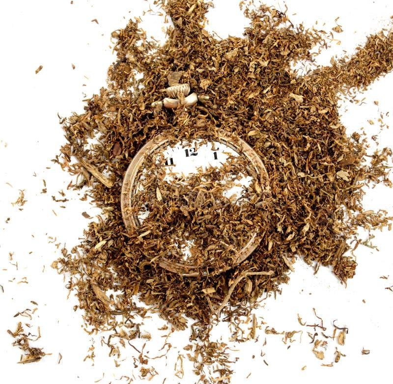 干燥烟草和葡萄酒时钟, 免版税库存图片