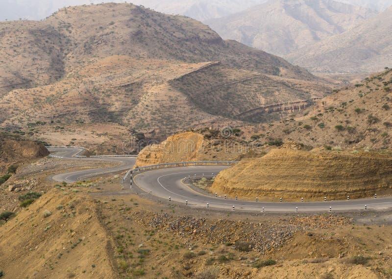 干燥风景在埃塞俄比亚在7月 库存图片