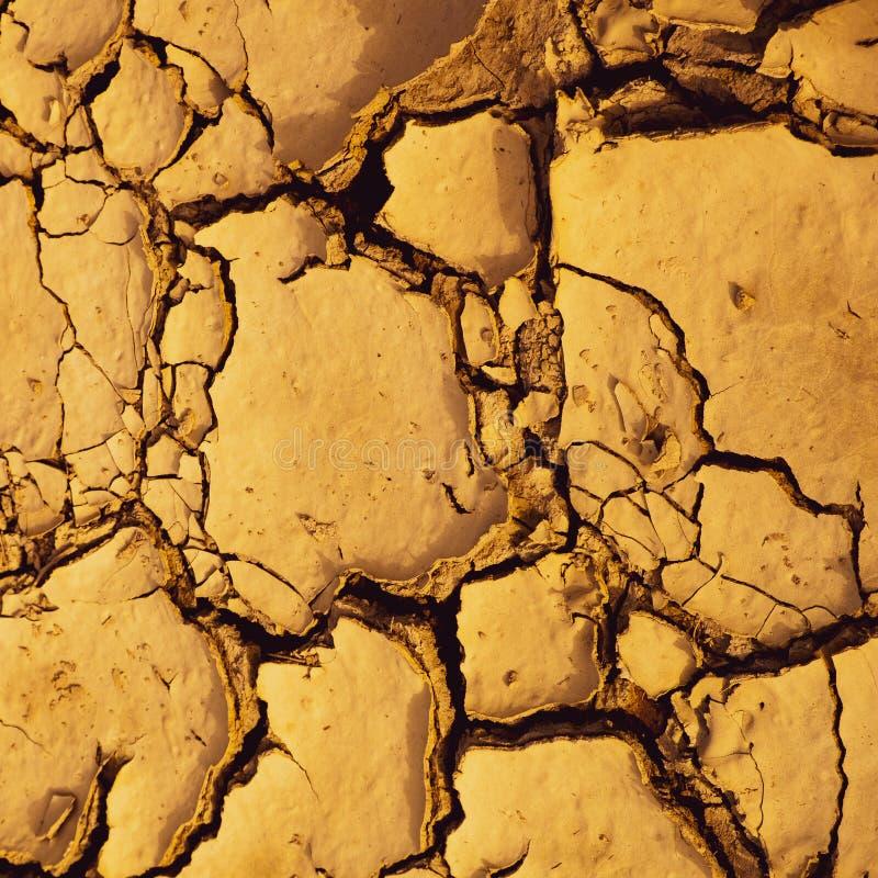 干破裂的泥适当作为背景和气候变化标志 免版税库存图片