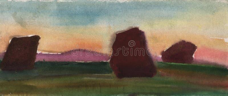 干草原的水彩剪影在日落的与古老石雕象 库存图片