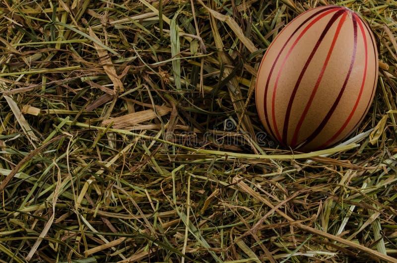 干草和复活节彩蛋 免版税图库摄影