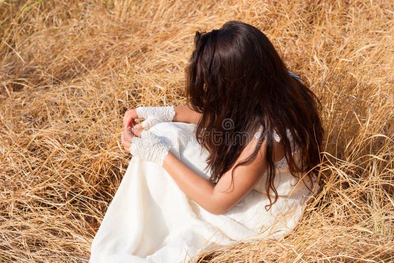 干草的女孩 免版税库存照片