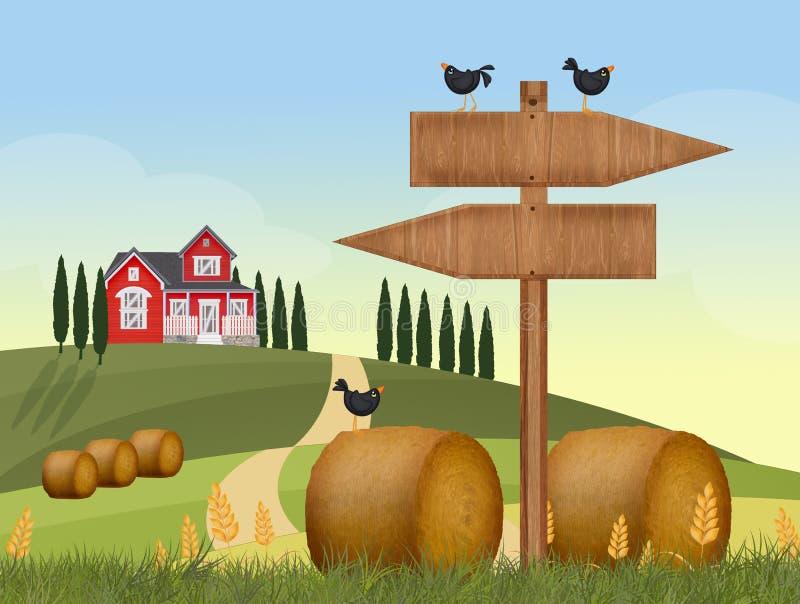 干草领域在乡下 向量例证