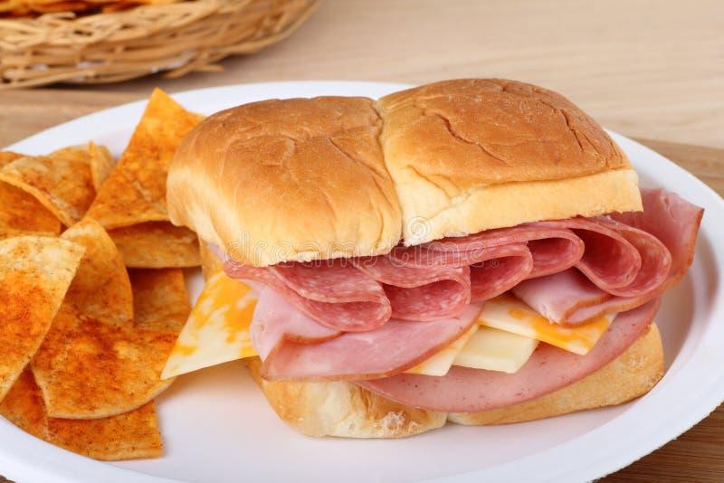 干酪午餐肉三明治 免版税图库摄影