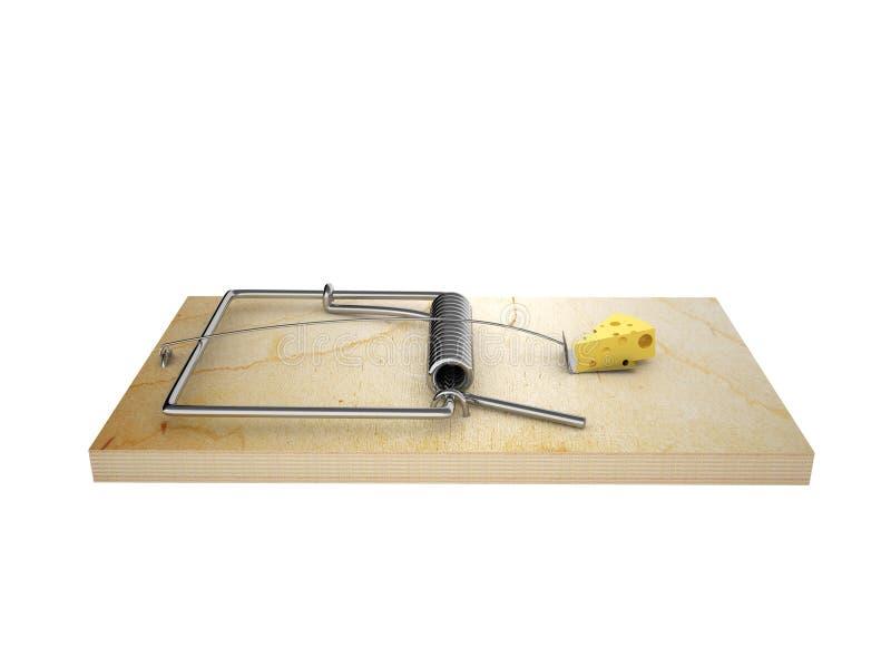 干酪块在捕鼠器的 库存例证