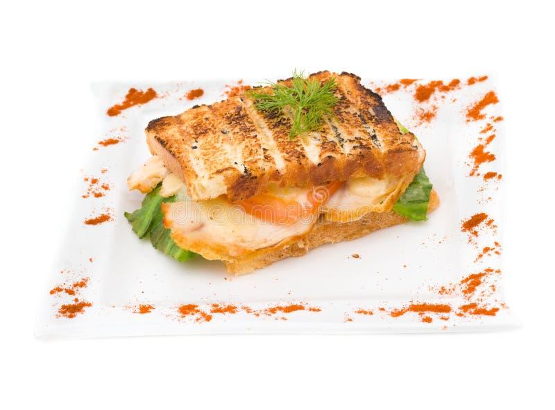 干酪敬酒的火腿三明治 免版税库存图片