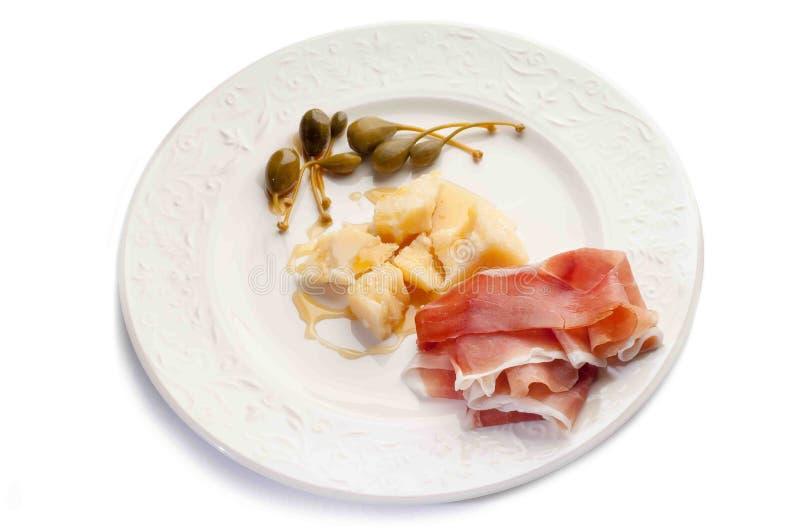 干酪火腿帕尔马巴马干酪 库存图片