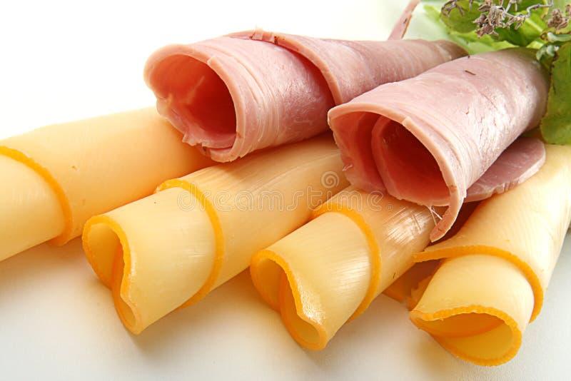 干酪火腿滚的片式 免版税库存照片