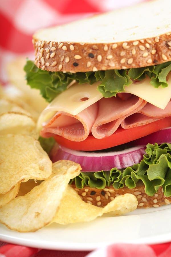 干酪火腿理想的三明治 库存照片