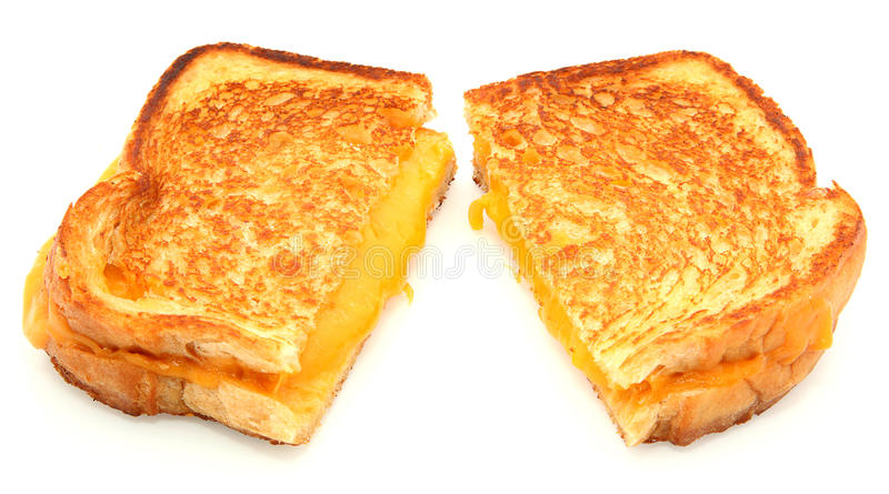 干酪烤查出的三明治白色 免版税库存图片