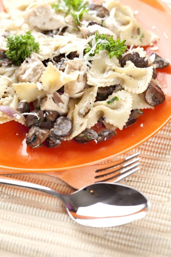 干酪采蘑菇意大利面食 库存照片