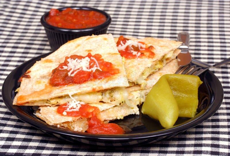 干酪鸡quesadilla 免版税库存照片