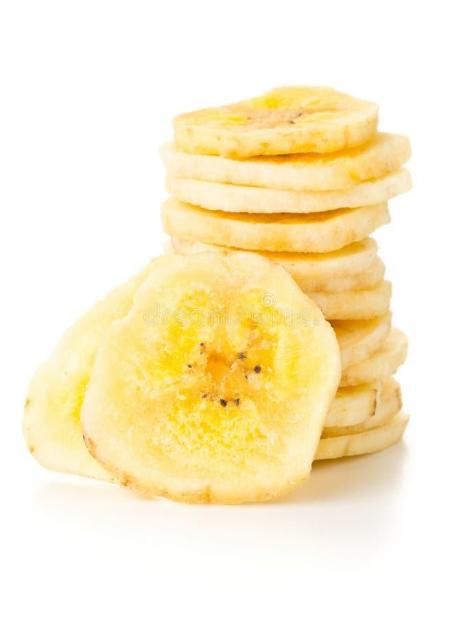 干香蕉切削快餐被堆积在白色 库存图片