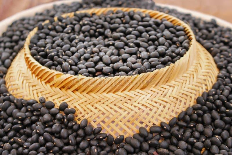 干黑灌木豆种子或豇豆,在篮子的南部的豌豆纹理背景的,巨大的小组 库存照片