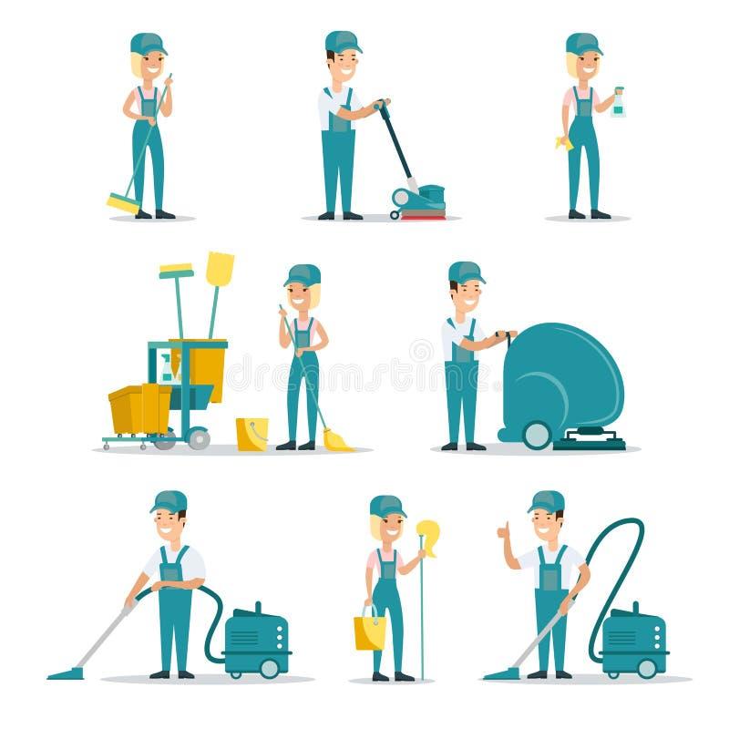 平专业清洁服务人的擦净剂 皇族释放例证