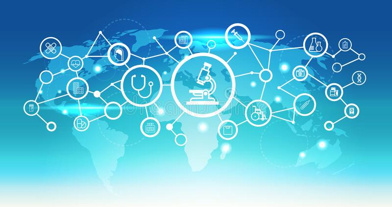 平世界地图未来派显微镜象接口医疗医疗保健网络连接概念蓝色的背景 库存例证
