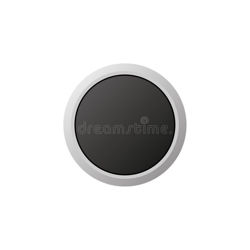 平原在白色背景的被隔绝的黑按钮 皇族释放例证