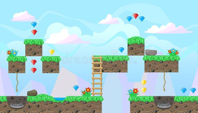 平台游戏设计的无缝的编辑可能的风景 皇族释放例证
