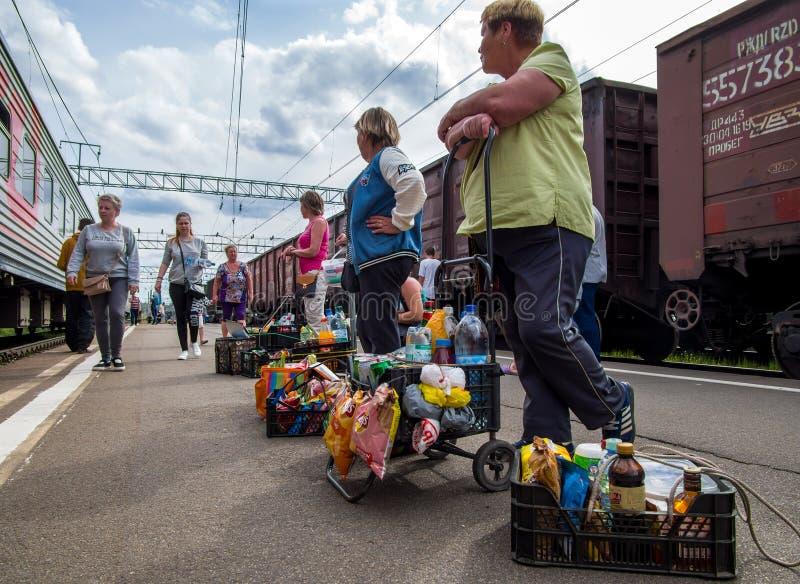 平台等待的顾客的妇女,当停放火车在火车站彼得罗扎沃茨克时 库存图片