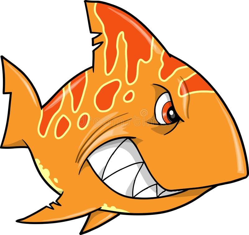 平均橙色鲨鱼向量 库存例证